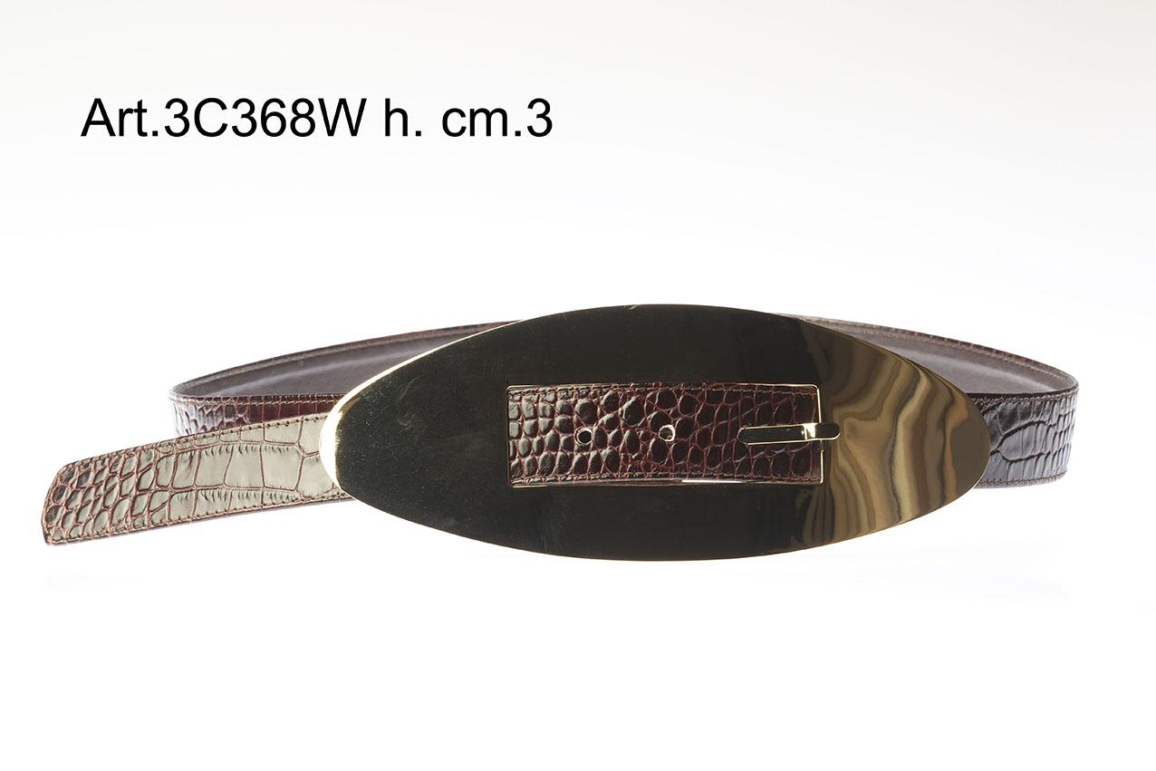 Cintura in Pelle con Fibbia in metallo h.cm.3 Art.3C368W Image